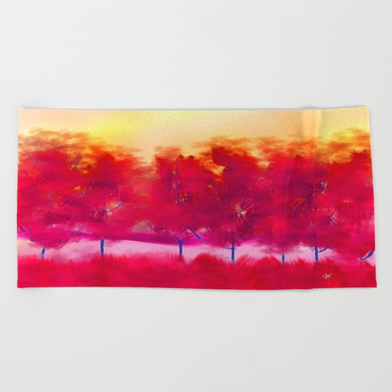Sunset in Fall Abstract Landscape Beach Towel
