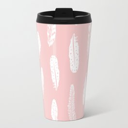 Feather pink and white minimal feathers pattern nursery gender neutral boho decor Travel Mug