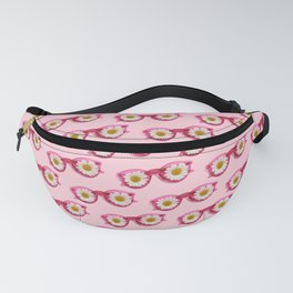 Pattern of pink sunglasses with daisies Fanny Pack