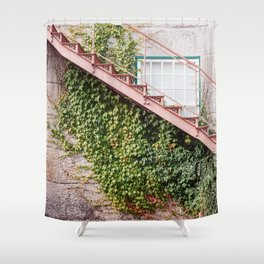 Stone House with Ivy Wall Shower Curtain