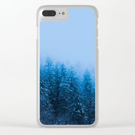 Fog over snow covered forest at lake Bohinj, Slovenia Clear iPhone Case