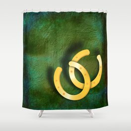 Lucky horseshoes on a textured green background Shower Curtain