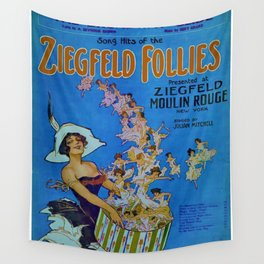 Vintage 1924 Ziegfeld Follies Moulin Stage Theater Advertisement Poster Wall Tapestry
