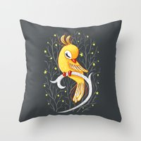 freeminds Throw Pillows featuring Magic Canary by Freeminds