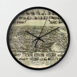 Aerial View of Rockville, Connecticut (1895) Wall Clock