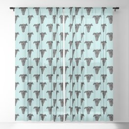 Greyhound Puppy Face Pattern over Blue Sky Sheer Curtain