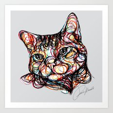 sweet cat line style - gatto dolce - chat doux - gato dulce Art Print