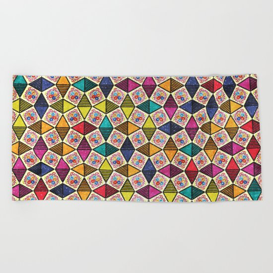 Colorful Kaleidoscopic Abstract Flower Pattern Beach Towel