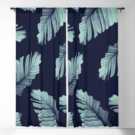 Navy Blue Banana Leaves Dream #2 #tropical #decor #art #society6 Blackout Curtain