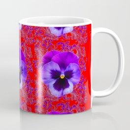 DECORATIVE PURPLE PANSY FLOWERS ON RED COLOR Coffee Mug