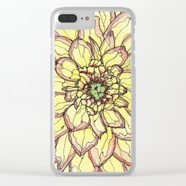 Yellow Flower Love Clear iPhone Case