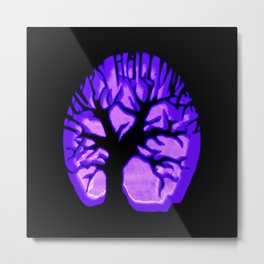 Happy HaLLoWeen. Brain Tree : Purple Metal Print