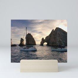 Spectacular Sea Stacks | Boats Sailing Across the Ocean | Clouds | Waves Mini Art Print
