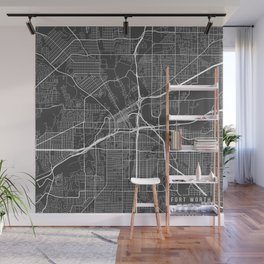 Fort Worth Map, USA - Gray Wall Mural
