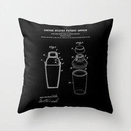 Cocktail Shaker Patent - Black Throw Pillow