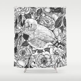 Zebra finch and rose bush ink drawing Shower Curtain