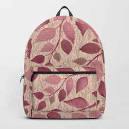 Berry Pink Leaves On Brushed Gold Backpack