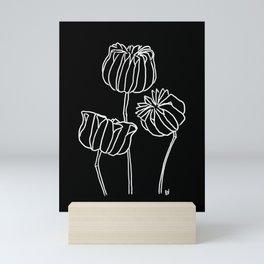 Seed Pods Botanical Print (White and Black) Mini Art Print