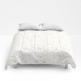 Elegant simple modern faux gold white floral Comforters