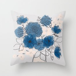 Blue Floral Bouquet Throw Pillow