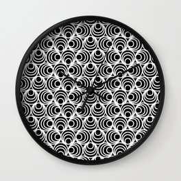 Minimal - white polka circles and dots on black - Mix&Match with Simplicty of life Wall Clock