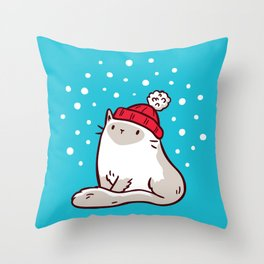 Cat Watching Snowfall Throw Pillow