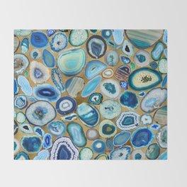 Blue Sea Agates on gold Throw Blanket