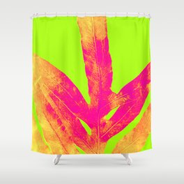 Green and Ultra Bright Coral Fern Shower Curtain