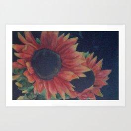Dramatic sunflowers on black background Art Print