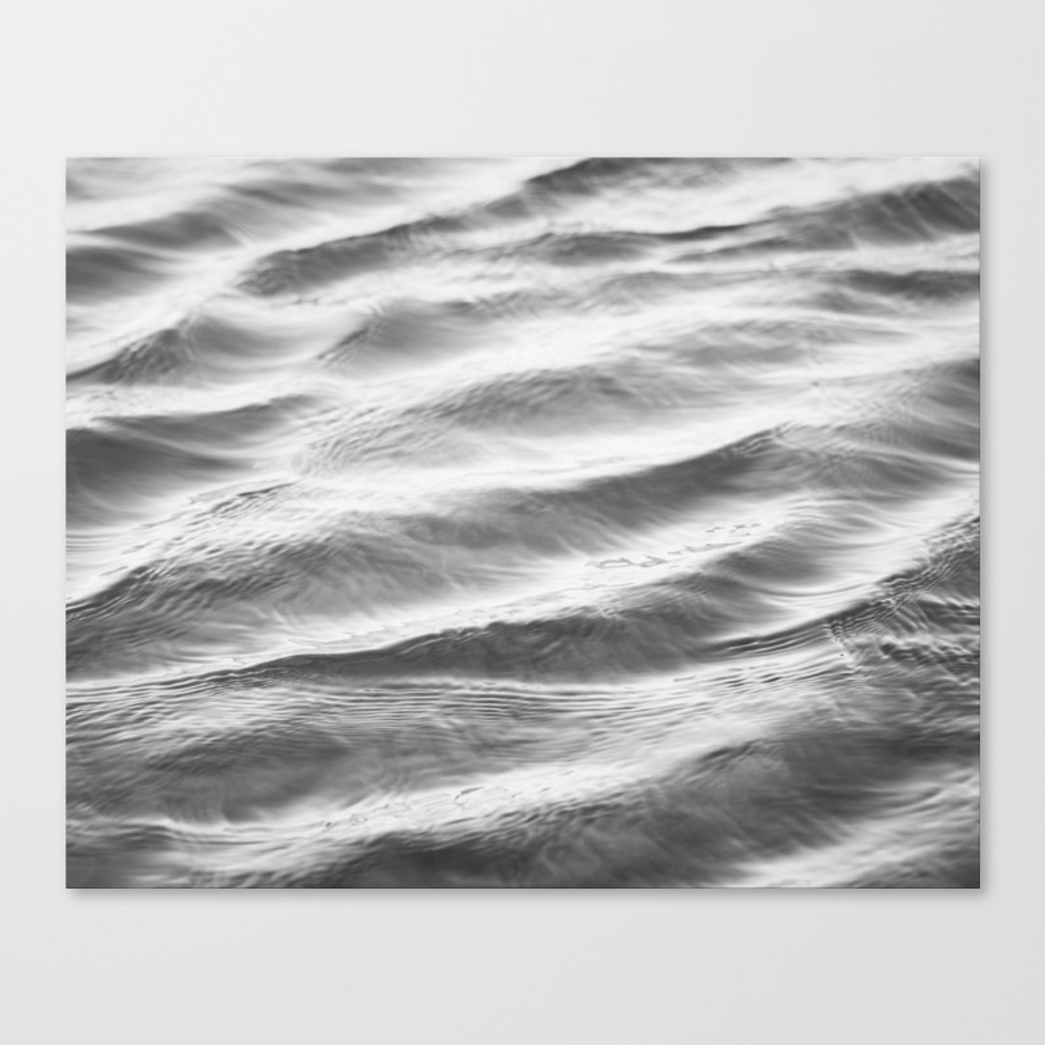 Black and white water ripple photography grey ocean ripples gray neutral sea waves seascape wave canvas print