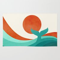 wave Area & Throw Rugs featuring Wave (day) by Jay Fleck