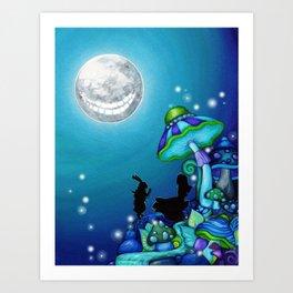 Alice in Wonderland and Cheshire Cat Art Print