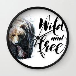 Bear Wild and Free Wall Clock