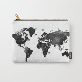 Black and silver world map Carry-All Pouch