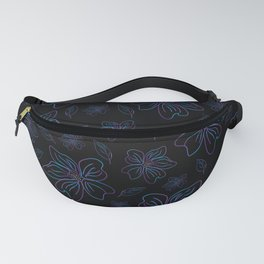 Outlined purple and blue flowers Fanny Pack