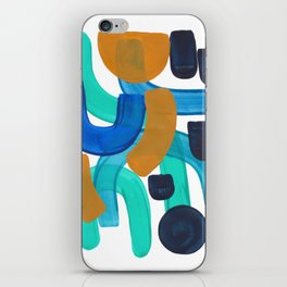 Minimalist Abstract Mid Century Modern Colorful Shapes Marine Green Teal Blue Yellow Pattern iPhone Skin