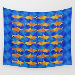 Orange Sharks On Blue Square. Wall Tapestry