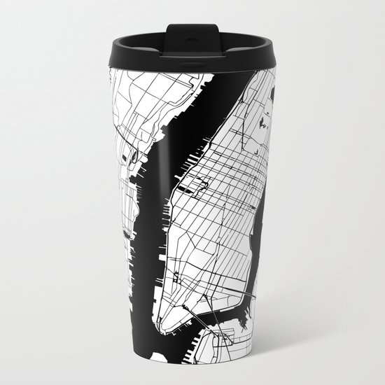 New York City Minimal Map Metal Travel Mug