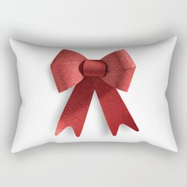 Isolated Big Red Christmas Shiny Bow Rectangular Pillow