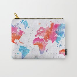 Watercolor World Map Carry-All Pouch