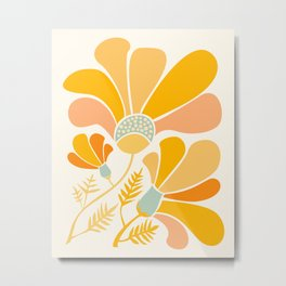 Summer Wildflowers in Golden Yellow Metal Print