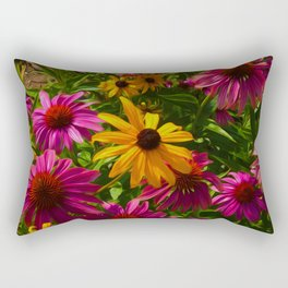 Coneflowers, Floral wall art, colorful flower blooms Rectangular Pillow
