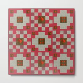 project for a quilt red and beige with floral patterns Metal Print