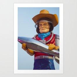 Buck Atom Space Cowboy Tulsa Muffler Man on Route 66 Art Print