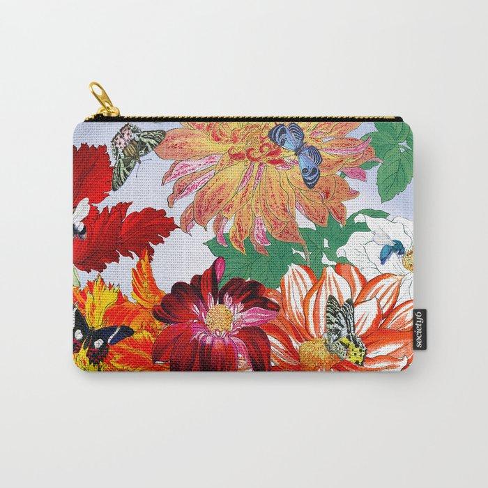 Dazzlin' Dahlias, Tulips, B'flies Carry-All Pouch