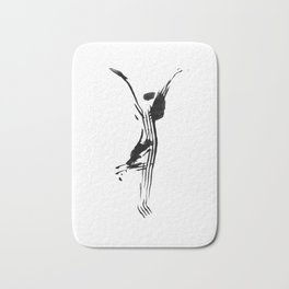 Black and white, minimalist, modern yoga pose illustration for yoga studio, yoga art, drawing, om Bath Mat