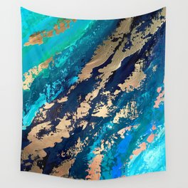 Monterey Emerald Bay Golden Abstract Wall Tapestry