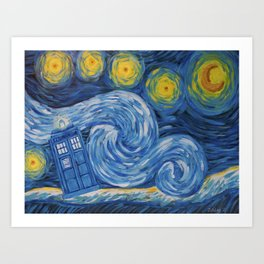 Starry Tardis Night Art Print