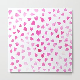 Blush pink hand painted watercolor valentine hearts Metal Print