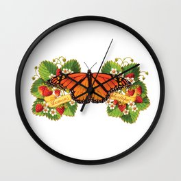 Monarch Butterfly with Strawberries Illustration Wall Clock